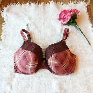 Cacique • Maroon Plaid Bra Size 40DDD